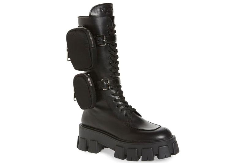 Черные армейских ботинках Prada