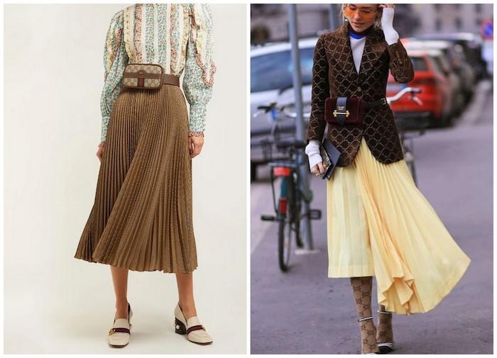 Девушка в юбке миди и поясная сумка