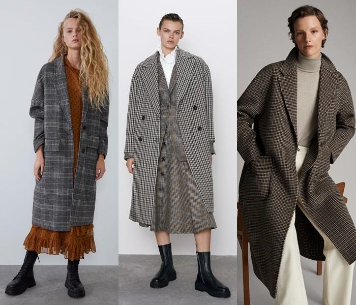 Девушки в модных пальто в клетку в стиле оверсайз