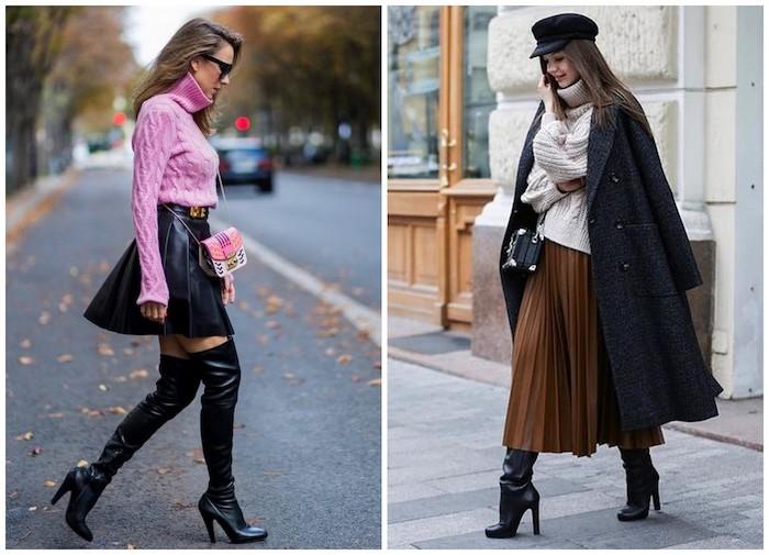 Девушки в плиссированных юбках, черные сапоги и свитер