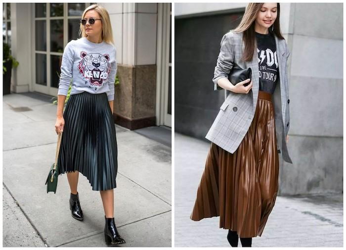 Девушки в плиссированных юбках ниже колена, футболка с принтом и черные ботильоны