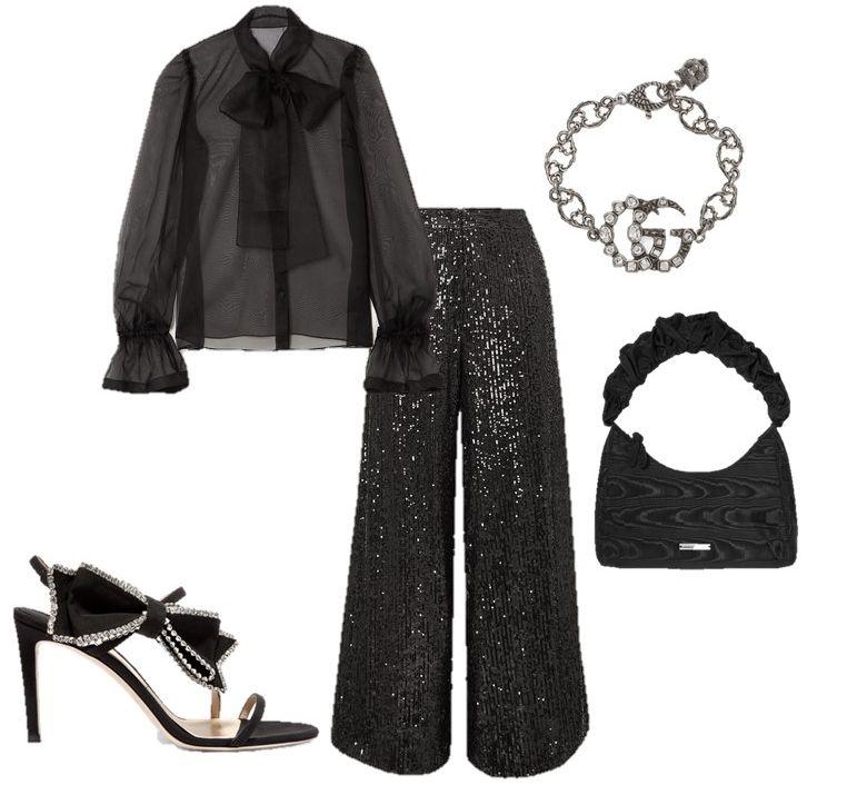 Лук с черными широкими брюками, прозрачная блузка с бантом и черные босоножки