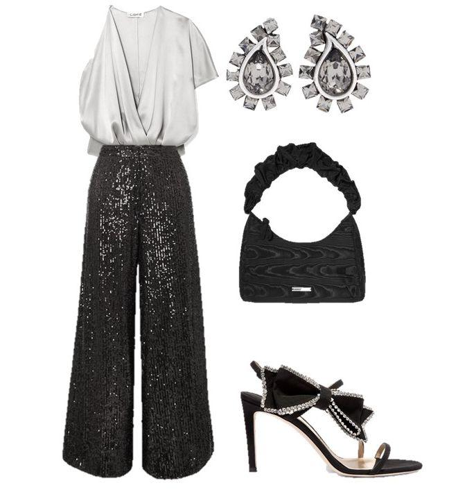 Лук с черными широкими брюками, серая блузка и черные босоножки