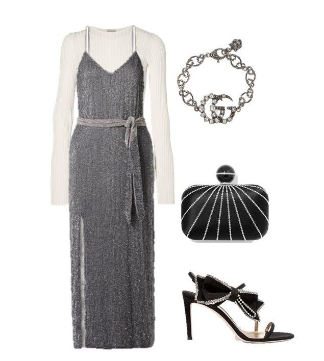 Лук с серебристым коктейльным платьем с поясом, белая водолазка и черные босоножки