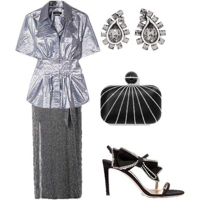 Образ с серой длинной юбкой, металлическая блузка с коротким рукавом и черные босоножки