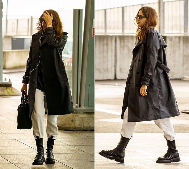 Ирина Шейк в кожаном плаще и дизайнерских ботинках