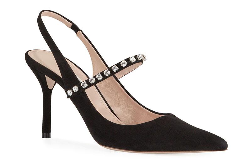 Черные босоножки на каблуке с кристаллами от Miu Miu