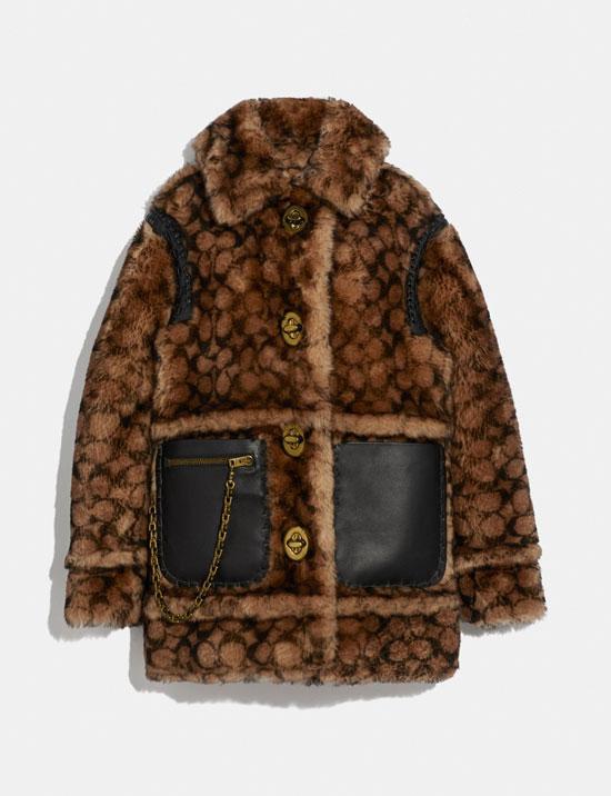 Шуба с накладными кожаными карманами от Coach