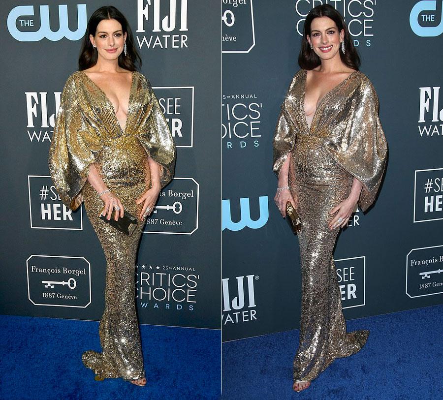 Энн Хэтэуэй в золотистом блестящем платье на церемонии Critics Choice Awards