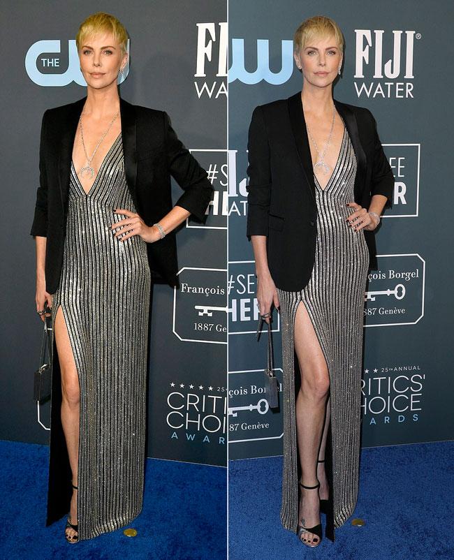 Шарлиз Терон в блестящем платье в полоску и черном пиджаке на церемонии Critics Choice Awards
