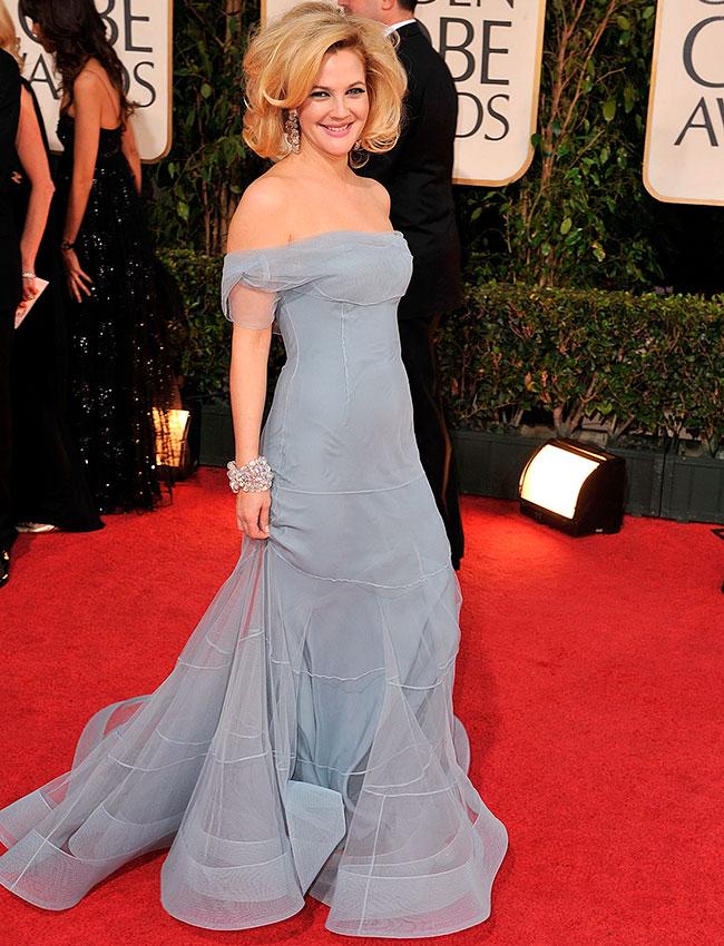 Дрю Берримор в голубом вечернем платье