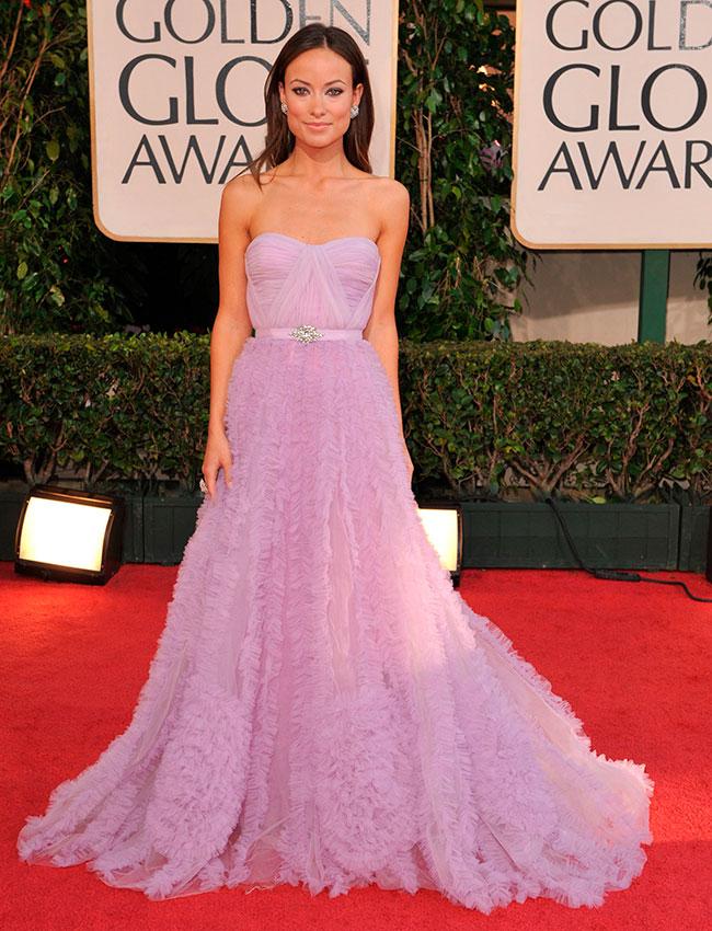Оливия Уайлд в очаровательном платье лилового цвета с пышной юбкой