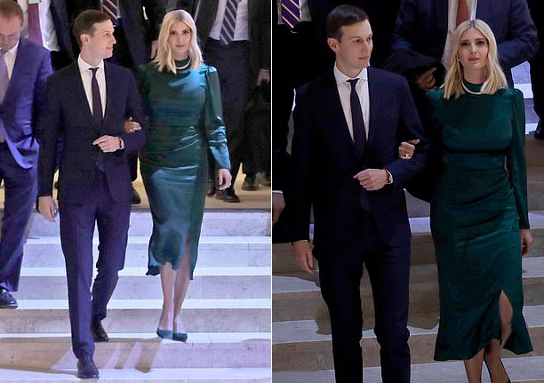 Иванка Трамп в изумрудном платье-миди и лодочках