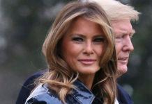 Мелания Трамп в виниловом плаще в стиле 80-х и ботфортах на высоченной шпильке