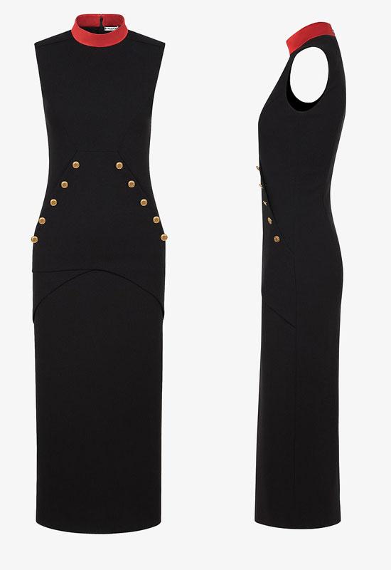 Шикарное платье без рукавов и с алым воротником от Givenchy