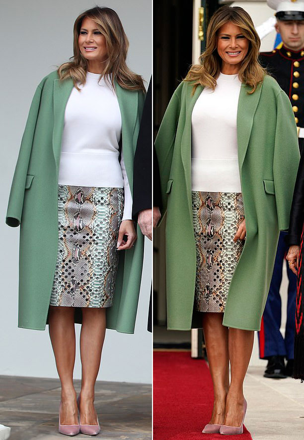 Мелания Трамп в зеленом пальто, грязно-розовых лодочках и юбке с принтом питона