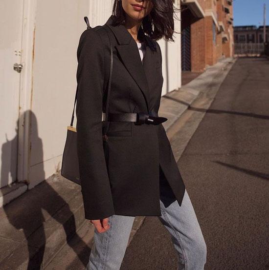 Идеи стильных образов с черным пиджаком