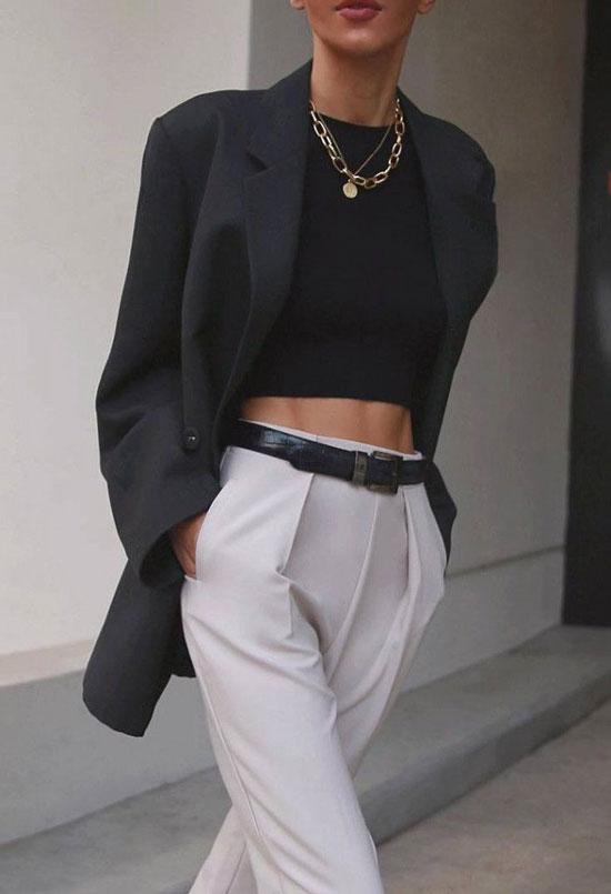 С чем женщинам носить черный пиджак