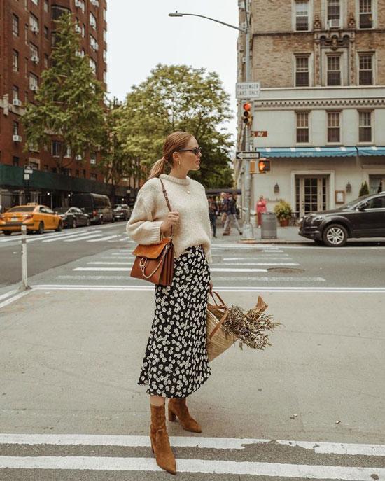 С чем носить юбку-миди весной 2020