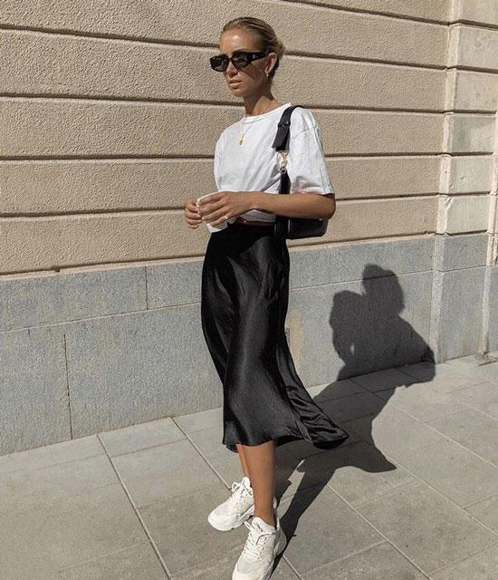Как модно носить юбку-миди весной 2020