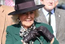 Английская герцогиня Камилла в зеленом пальто, черных сапогах и милом платье в горошек