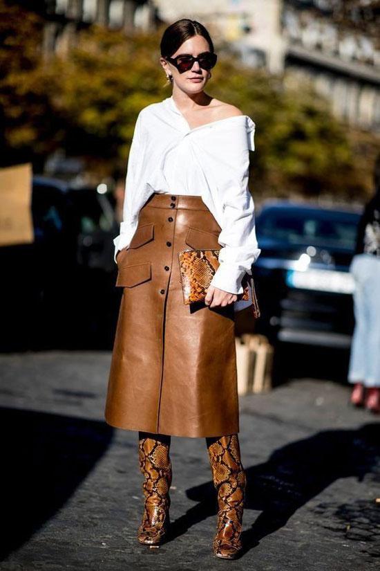Кожаная юбка-трапеция для женщин