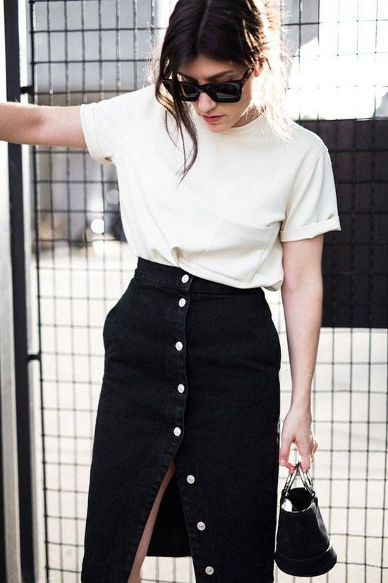 С чем носить черную юбку-трапецию