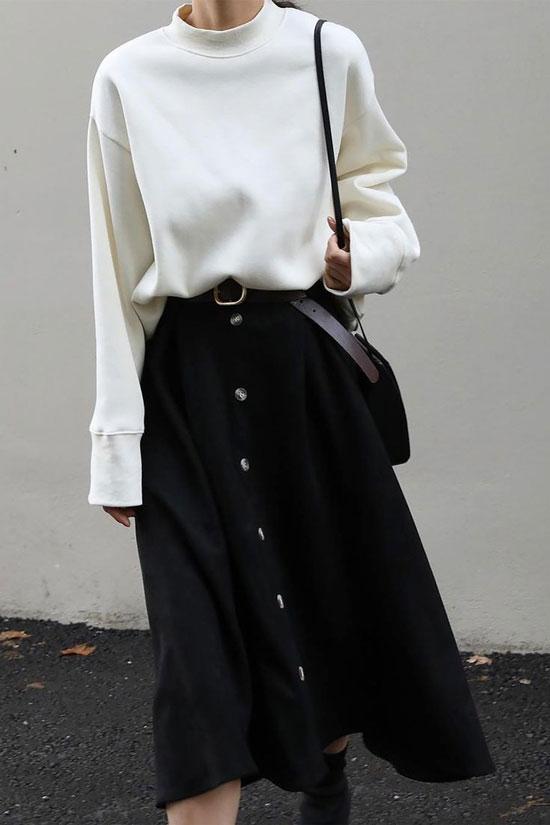 Черная юбка-трапеция