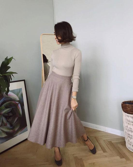 Длинная женская юбка-трапеция 2020