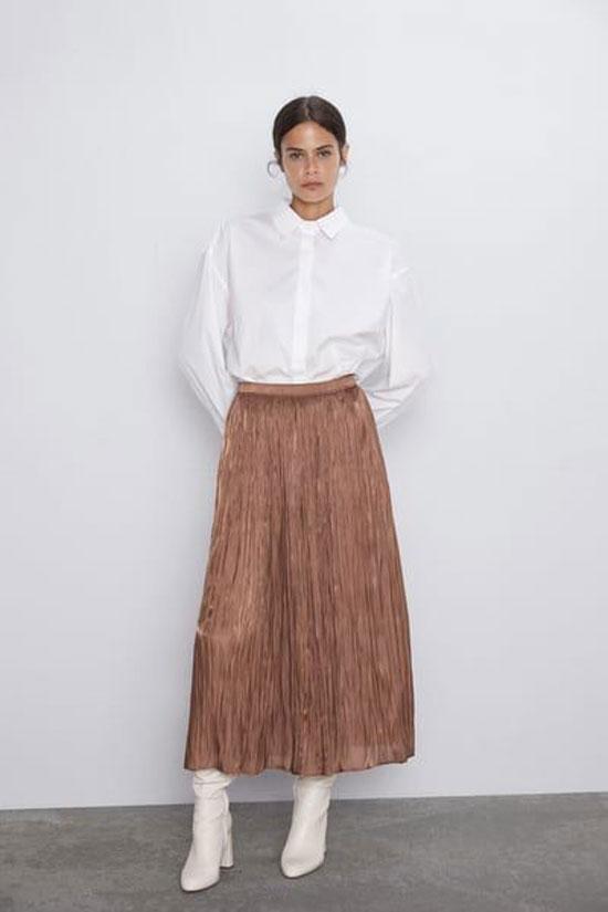 Длинная юбка-трапеция