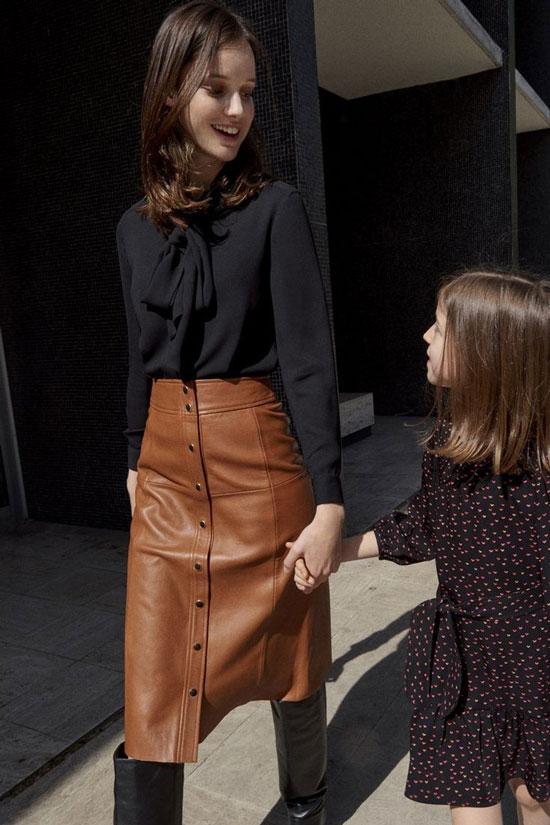 С чем носить кожаную юбку-трапецию