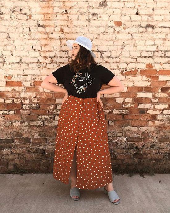 Модные юбки-трапеции для полных