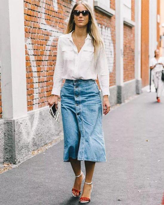 С чем носить женскую джинсовую юбку-трапецию