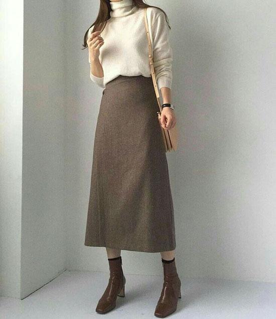 Модная миди юбка-трапеция