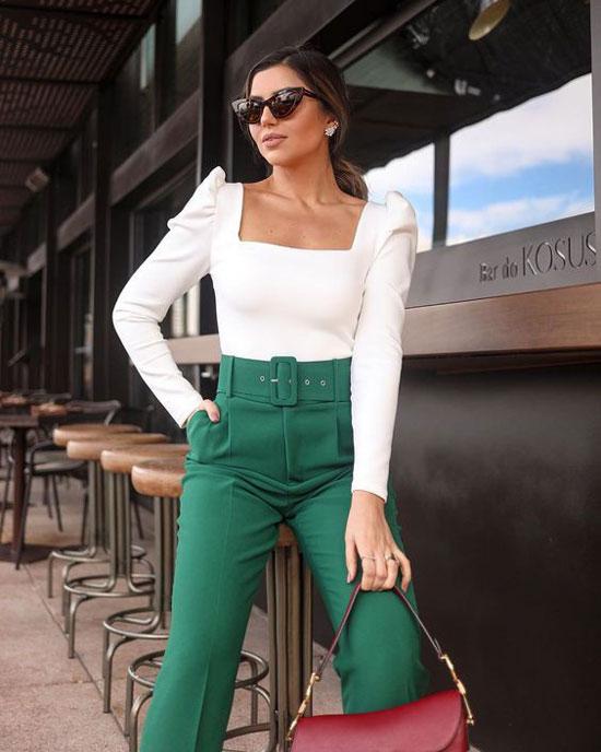 Как модно носить женские зеленые брюки