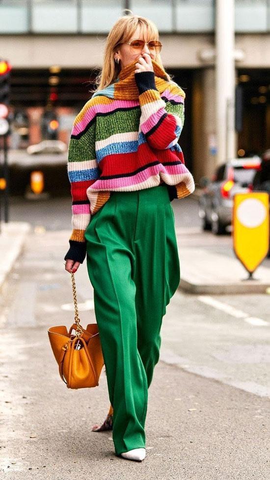 Как модно носить зеленые брюки
