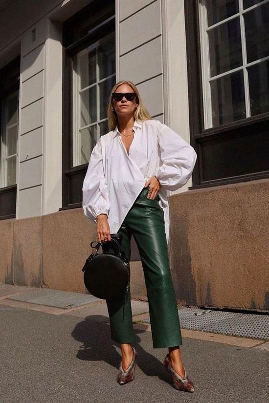 С чем сочетать женские зеленые брюки