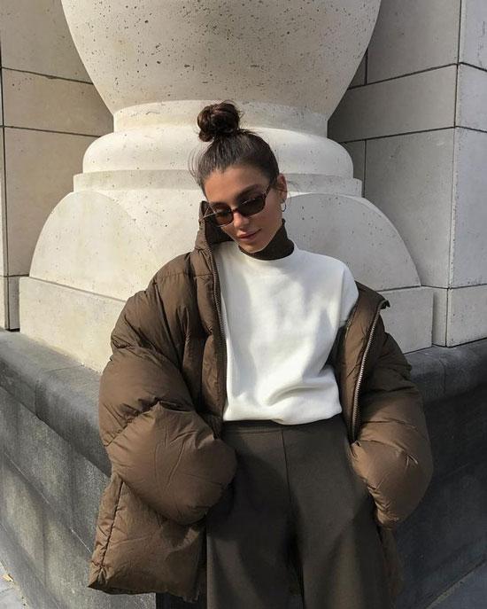 С чем носить женщинам коричневую куртку