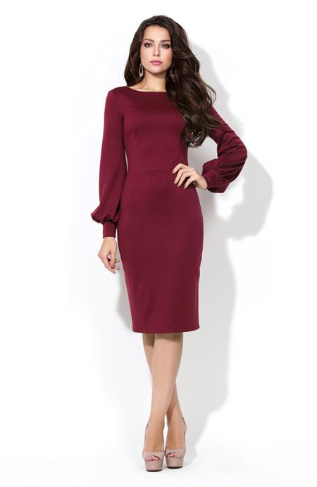 Бордовое платье футляр длины миди