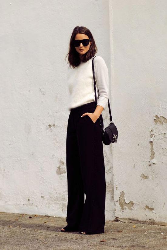 С чем женщинам носить черные брюки 2020