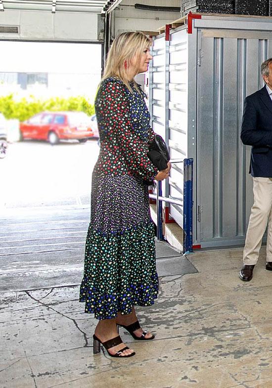 Королева Нидерландов в платье в цветной горошек и босоножках от Zara