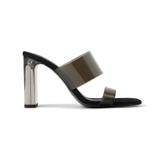 Черные виниловые босоножки на металлическом каблуке от Zara