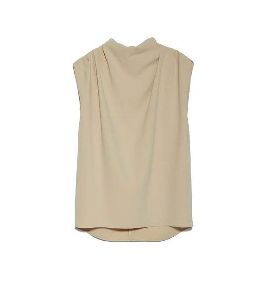 Песочная блуза без рукавов от Zara