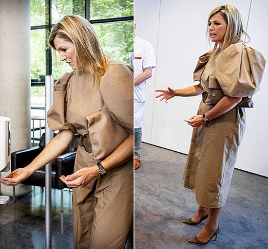 королева Максима в платье миди с пышными рукавами и кожаной сумкой