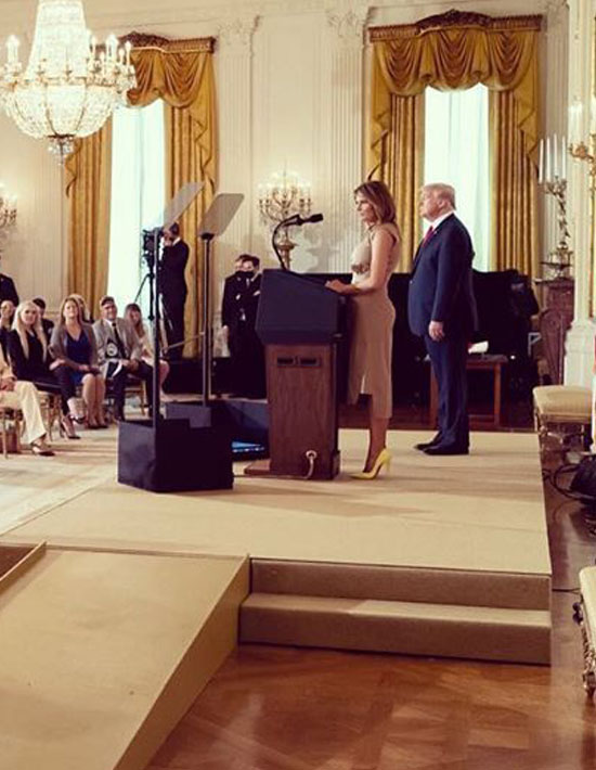Мелания Трамп в асимметричном платье и желтых лодочках