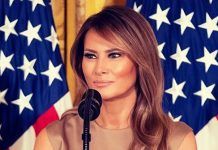 Мелания Трамп в платье цвета шампанского и лимонных лодочках выглядит блестяще