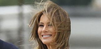 Мелания Трамп в черном платье, классических туфлях и пальто отмечает День Победы