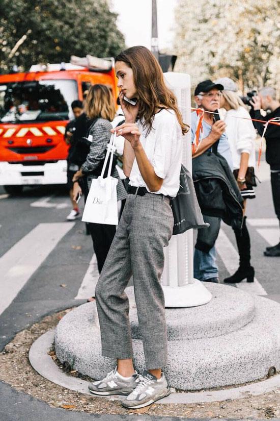 Модные образы с обувью без каблуков