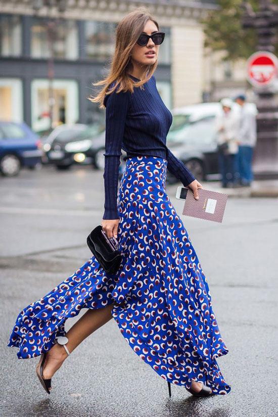 Длинная юбка с цветочным принтом на лето 2020