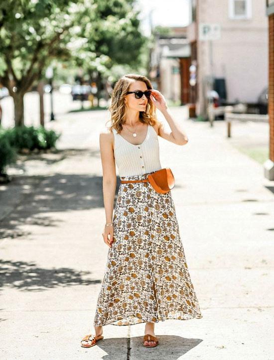 Как носить длинную юбку летом 2020